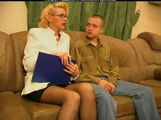 Blonde Glasses Mature Stockings