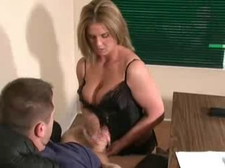 Blonde Handjob MILF Office