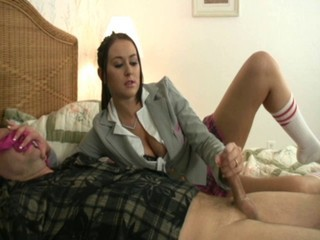 Brunette CFNM Handjob Stockings Teen