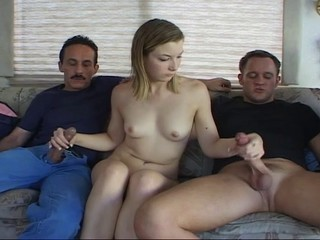 HORNY TEEN ENJOYS THREE DICKS...usb