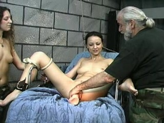 Bondage Old and Young Threesome