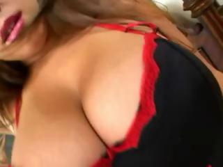 Busty BBW Teen gaging on cock