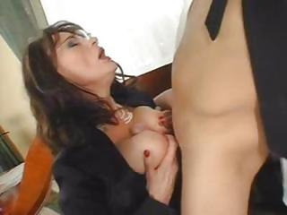 Busty Brunette Milf Eats His Coc...