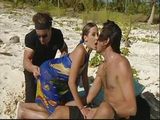 Beach Double Penetration MILF Outdoor Threesome