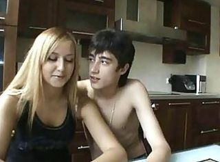 Blonde CFNM Kitchen Teen