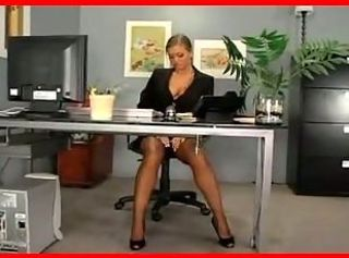 Blonde MILF Office Stockings