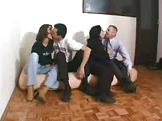 Brunette Kissing MILF Swingers