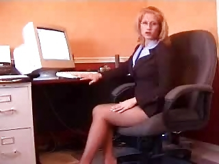 Blonde Glasses Legs Office Secretary Teen