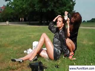 Brunette Lesbian Milf's At The Park Bathing In Whip Cream