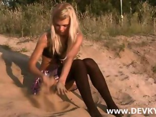 Beach Blonde Outdoor Russian Stockings Teen
