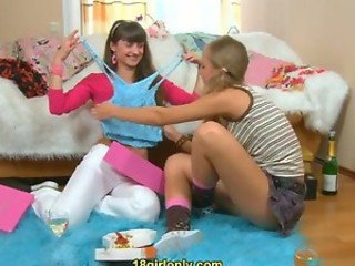 Two hot teen lesbians celebrate a birthday party