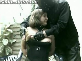 Old slave with good tits tied to chair got hit with a...