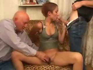 Big cock Blowjob Old and Young Teen Threesome
