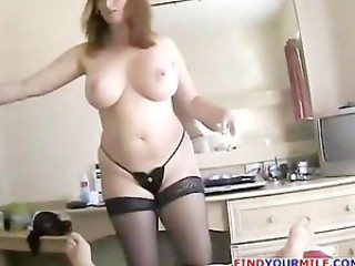 Mature woman gives a great gloved handjob