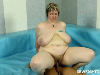 BBW Big Tits Hairy MILF Riding SaggyTits