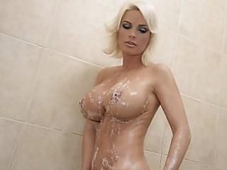 Amazing Big Tits Blonde Cute MILF Showers Silicone Tits
