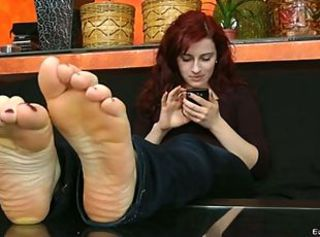 Lady Feet Soles Rub _: foot fetish redheads