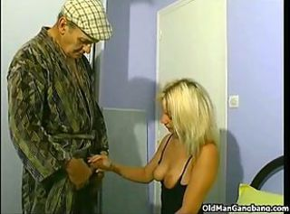 Blonde Handjob Old and Young Teen