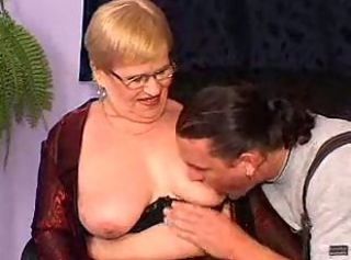Granny in a dp and facial on her glasses _: anal double penetration facials grannies