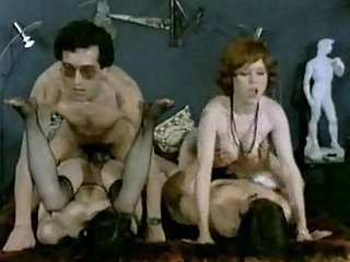 Vintage whores in hot group banging
