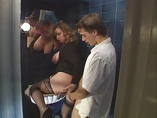 Bathroom Chubby Clothed MILF Old and Young Stockings