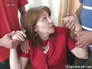 Bossy mature woman takes two thick cocks at once