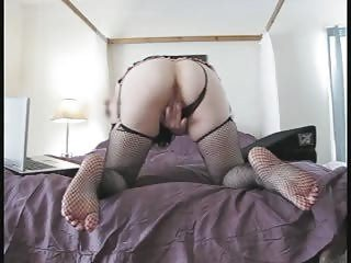 Fishnet Masturbating MILF Stockings