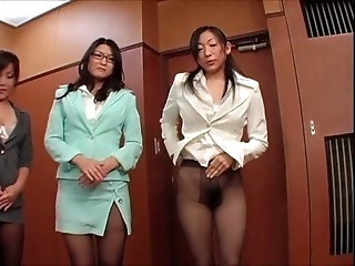 Asian Glasses Japanese MILF Office Pantyhose