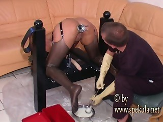 Ass filled with milk   kinky enema