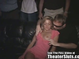 Petite Girl Group Sex in a Porn Theater