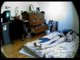 Hidden cam in my girlfriend bed room. She masturbates
