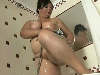 Bathroom Brunette Chubby MILF