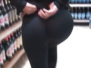 Truly Big and Perfect Round Ass Walking at the Market  new!