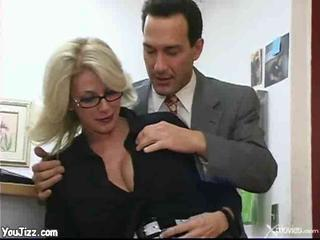 Blonde Bus Glasses MILF Office Secretary
