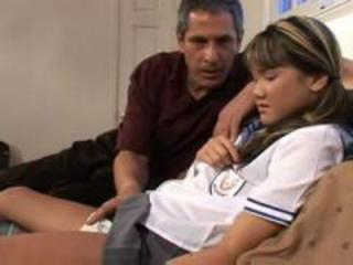Asian Interracial Old and Young Teen Uniform