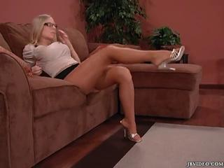 Blonde Glasses Legs MILF Pantyhose