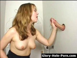 Naughty girl sucks & jerks cock through gloryhole Sex Tubes