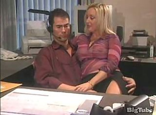 Awesome office sex with blonde and hot fucking with titty brunette ...