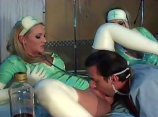 Hot nurses in latex uniform sucking and fucking lucky guy