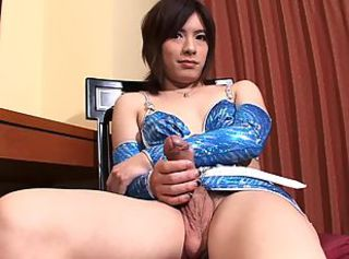 Asian tranny cock wanking