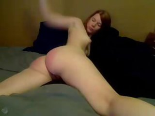 camgirl spanks herself