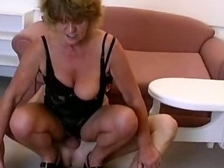 Horny grandma loves riding chunky young
