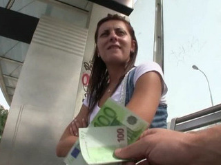 Amateur Cash European Outdoor Public Teen