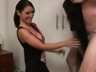 Sexy cfnm cheerleader sucks on cock