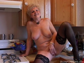 Uncompromisingly sexy grandma has a sopping bedraggled pussy