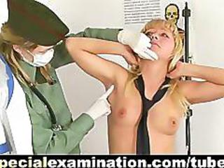 Shocking Army Gyno Exam For Blonde Babe