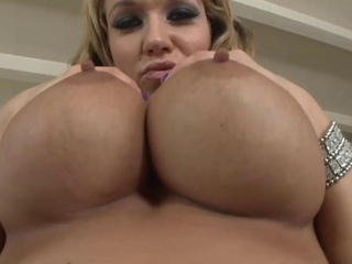 Dirty blonde milf uses big tits on young studs fixed dick