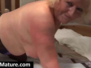Chubby Blonde Granny Squeezes Her Big Titis And Fingers Her Fat Pussy