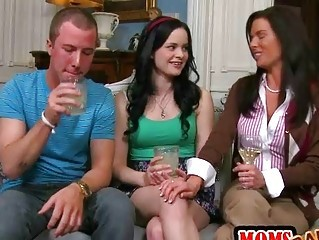 Daughter Drunk Family MILF Mom Old and Young Teen Threesome