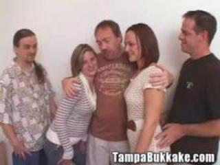 Two sluts having a tampa bukkake mini orgy
